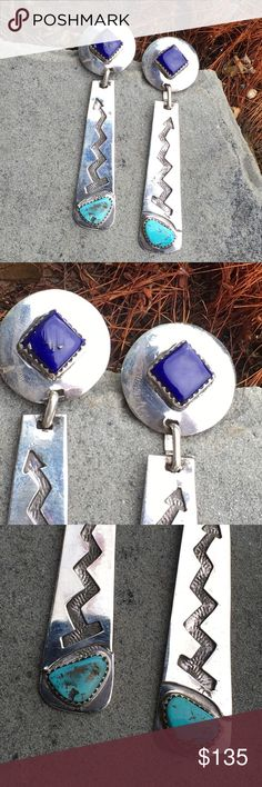 """Sterling Lapis Turquoise Earrings Francisco Gomez Hanging 3"""" Long, with Top Circle of Silver 13/16"""" in Diam. With a Saw tooth Bezel Set 10x10mm Lapis Cab in center, with hanging 2nd 2 1/8"""" Pendulum of Sterling, Handstamped Zig zag Arrow design & 8x14mm Natural Turquoise Cab, also Saw tooth Bezel set, all hand fashioned by Spanish Master Lapadarist/Artisan Francisco Gomez. 17.6g Francisco Gomez Jewelry Earrings"""