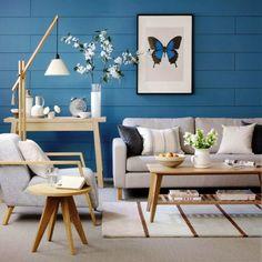 decoracion sala de estar azul caribe y blanco