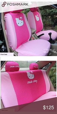 Hello kitty car seat covers Color Name: pink 10 pcs includes 2 Pcs Front Seat Saddle Covers 2 Pcs Front Seat Back Covers 1 Pc Rear Seat Three-person Saddle Cover 1 Pc Rear Seat Three-person Back Cover 4 Pc Headrest Covers How to check the suitability of your car 1: This product only available for cars of 5 saddles 2: Fit for cars with headrest pillow detachable and backseat length less than 135cm. It comers with HK rear view mirror and steering wheel HK Hello Kitty Accessories