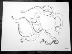 """Octopi"" blind contour drawing debyagerart.com"