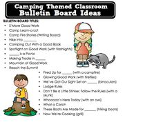 CAMPING THEMED CLASSROOM, free ideas, photos, tips, bulletin board sayings/phrases, inspirational pictures of decor, printables, and more. :) Jodi from the Clutter-Free Classroom www.CFClassroom.com