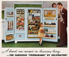 "Appliance companies and advertisers worked hard to transform refrigerators from ""a brand new concept in luxurious living"" to an everyday household object. Description from psmag.com. I searched for this on bing.com/images"