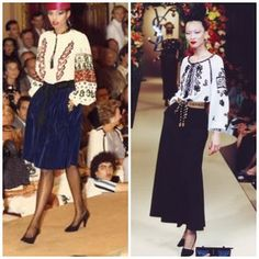 Yves Saint Laurent and the Peasant blouse, the famous trendsetter. Inspired by Matisse and his paintings Fashion 101, Fashion History, Fashion Trends, Romanian Women, Romanian Flag, Art Textile, Sartorialist, Textiles, Folk Costume