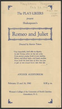 Romeo and Juliet [production records] :: Campus Theater Productions, 1897-1963