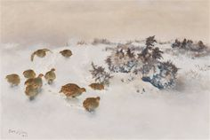 Partridges in snow by Bruno Liljefors