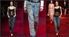 Eu adoro jeans e a mais nove tendência é que eles vão vir em todas as lavagens e bordados com pedrarias e cristais. Eu adoro!