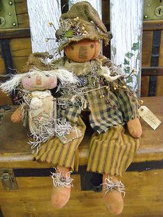 PRIMITIVE FALL PUMPKIN SCARECROW DOLL W/ SCARECROW BUDDY HARVEST DOLLS OLD QUILT (: