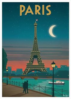# Vintage Travel Posters 'Vintage poster - Paris' Poster by mosfunky Posters Paris, Posters Decor, Dorm Posters, School Posters, Eiffel Tower At Night, Paris Eiffel Tower, Vintage Paris, Retro Vintage, Retro Pop