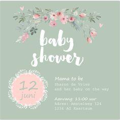 Eerdaags een babyshower feest organiseren? Romantisch chic vierkante uitnodiging met bloemen en hartjes voor een meisje. Alles is zelf aan te passen! Enveloppen zijn los bij te bestellen.