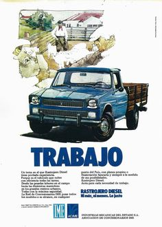 Old Posters, Vintage Posters, Car Advertising, Ads, Argentina South America, 70s Cars, Car Illustration, Mini Trucks, Jeep 4x4