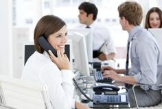 Are you looking for the best VoIP solution at an affordable price? Check our business phone service top 10 com... -  Enthousiastic businesswoman talking to the phone in the open-space . Discover More at: http://www.topteny.com/top-10-best-services-deals-business-voip-phone/