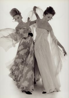 Lovely flowing evening dresses by ARNOLD SCAASI, Sarmi. Photo BERT STERN Feb 1 1961 for Vogue. From Bert Stern Adventures. (minkshmink)