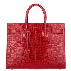 Saint Laurent Handle Bag - Sac de Jour Tote Croco Lipstick Red Small -... (£2,185) ❤ liked on Polyvore featuring bags, handbags, tote bags, red, tote handbags, patent leather tote, red tote, mini tote and red patent leather handbags