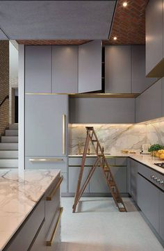 Modern Kitchen Interior The beauty is in the small details of this bespoke Roundhouse kitchen, such as the brass handles and marble worktop Grey Kitchen Designs, Modern Kitchen Design, Interior Design Kitchen, Home Decor Kitchen, Kitchen Furniture, New Kitchen, Kitchen Units, Kitchen Ideas, Kitchen Cabinets