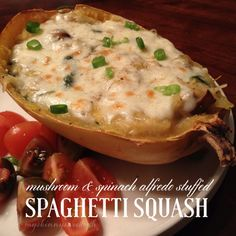 mushroom & spinach alfredo stuffed spaghetti squash | my skinny sweet tooth #weightwatchers 4pp meal #healthy