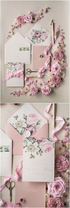Vintage pink and green wedding invitations 02BOTRCZ #weddings #weddingideas #invitations #vintage #vintageweddings ❤️ http://www.deerpearlflowers.com/botanical-wedding-inviations-from-4lovepolkadots/
