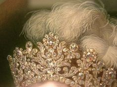 Tiara and headdress detail from a miniature of Marie-Thérèse-Charlotte, Duchess d'Angoulême, the only surviving child of Louis XVI and Marie Antoinette by Jean-Baptiste Jacques Augustin.