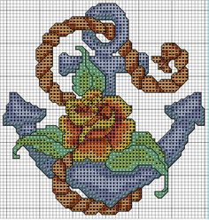 Anchor and Rose Cross Stitch Chart by HelloSailorStudio on Etsy, $6.00