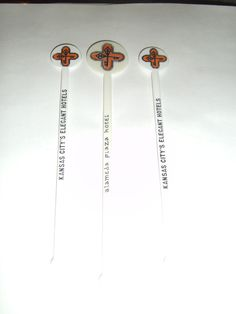 ALAMEDA PLAZA HOTEL Kansas City Three (3) Swizzle Sticks Drink Stirrers 2 sizes