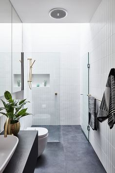 The #bathroom is fitted with a clean and #modern shower. #hometour