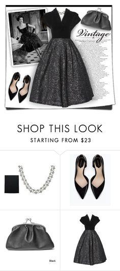 """Vintage Dress"" by debraelizabeth ❤ liked on Polyvore featuring Honora, Zara, Vintage and vintage"