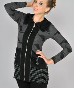 Look what I found on #zulily! Black & Gray Ruched Pocket Zip-Up Jacket #zulilyfinds