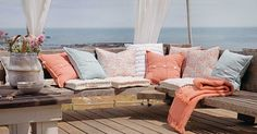 Romantic Sunrise Outdoor Sectional, Sectional Sofa, Outdoor Furniture, Outdoor Decor, Outdoor Living, Sunrise, Romantic, Pillows, Home Decor