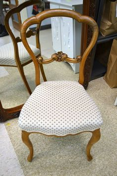 """Pretty Blue on White Upholstered Solid Carved Wood Accent Chair - Repair to Frame - 17.5"""" W x 16"""" D x33"""" H x 17"""" Seat Height"""