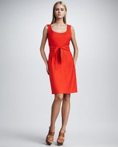 Leena Tie-Waist Dress, Red by Tory Burch at Bergdorf Goodman.