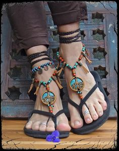 TREE of life BAREFOOT SANDALS leather Fringe sandals by GPyoga, $89.00