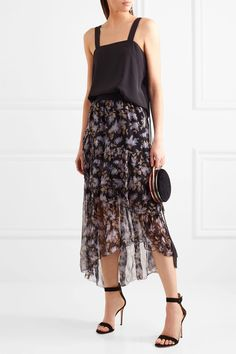 Zimmermann | Asymmetric tiered printed crinkled silk-chiffon skirt | NET-A-PORTER.COM