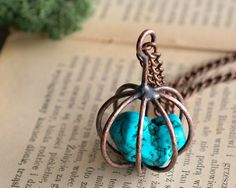 turquoise howlite necklace, copper, statement  necklace, natural stone, Tiffany method, handmade by pentaxPL on Etsy