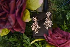 Rose Gold Leaf Earrings.