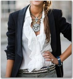 Edgy belt, dark blazer, ruffly white shirt, and some chunky jewelry, yes please.