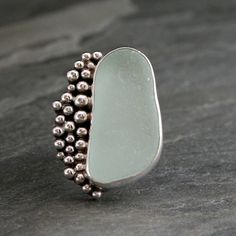 Sea Foam Bubbles, Aqua Sea Glass Ring - Kira Ferrer Jewelry