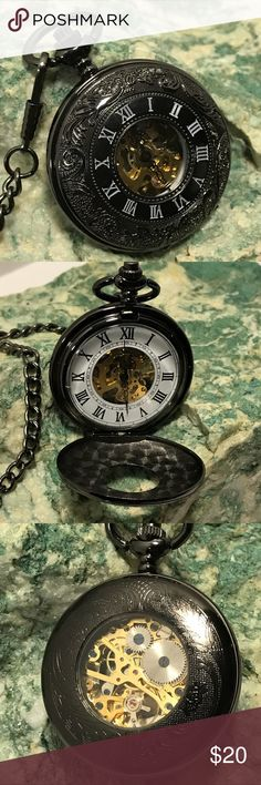 """STEP BACK IN TIME ⏱ Old style pocket watch with 14"""" pocket chain.  Watch face measures 1.75"""" round.  Roman numerals on outside and inside face.  Glass front and back show movements working.  Push button on top to open face.  No batteries necessary - watch is WIND-UP !  Comes with black velvet bag.  NWOT.  #Steampunk ⏱ Accessories Watches"""