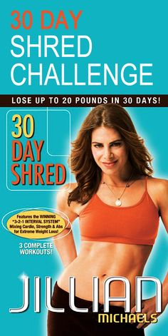 30 Day Shred Challenge. Jillian Michaels 30 Day Shred Level 2 will burn fat with this interval training fitness system, combining strength, cardio, and abs workouts that blast calories to get you shredded and ripped. #weightloss #fatburn #30daychallenge #fitnesschallenge #getfit #workoutforwomen