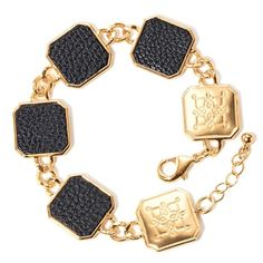 Ahead of the trend, this collection makes a true statement with the look of leather and gold. Goldtone chain link bracelet with 2 square shaped embossed castings and 4 castings with faux leather inlays. Regularly $19.99, buy Avon Jewelry online at http://eseagren.avonrepresentative.com