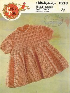 Peter Pan 213 baby dress vintage crochet pattern PDF by Ellisadine, £1.00