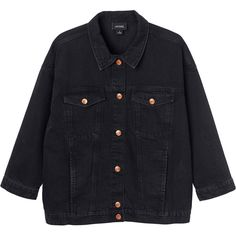 Monki Cathy denim jacket ($61) ❤ liked on Polyvore featuring outerwear, jackets, outerwears, denim, black magic, black denim jacket, oversized denim jacket, monki, denim jacket and pocket jacket