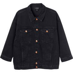Monki Cathy denim jacket (£40) ❤ liked on Polyvore featuring outerwear, jackets, denim, black magic, oversized jean jacket, denim jacket, jean jacket, monki and black denim jacket
