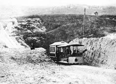 The Second Street Cable Railway ascending the west slope of Bunker Hill, near Second and Flower, circa 1885. Courtesy of the Title Insurance and Trust, and C.C. Pierce Photography Collection, USC Libraries.
