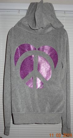 Victoria's Secret Pink Gray Velour Sweatshirt Purple Glitter Sz Small S EUC ~ SB #VictoriasSecret #Hoodie