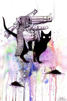 My brother has a cat. This would be a perfect print to have on his wall.    Super Cat by Laura Zombie