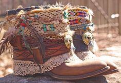 Upcycled REWORKED vintage luxury boho COWBOY BOOTS - custom boho boots