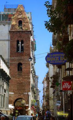 Vicoli di Napoli - Via dei Tribunali - Campanile della Pietrasanta. Italy