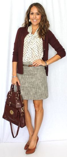 like the outfit - skirt maybe needs to be longer; like the mix of textures/patterns/colors. never too sure about burgundy but generally this is good. also bootable. :)