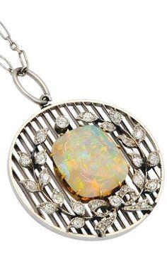 Antique Opal, Diamond and Platinum Pendant Necklace, circa Gorgeous! Love my birthstone! Platinum Jewelry, Moonstone Jewelry, Crystal Jewelry, Pendant Jewelry, Gemstone Jewelry, Pendant Necklace, I Love Jewelry, Fine Jewelry, Jewelry Design