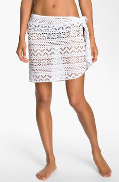 ROBIN PICCONE Penelope Crochet Pareo White $42 LARGE AUTHENTIC DESIGNER SELECTION VISIT:  www.shorecasuals.com