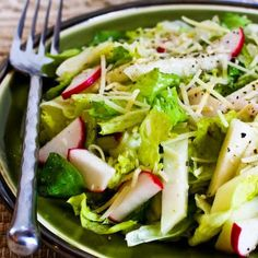 I love raw escarole, have you tried it?  This Wilted Escarole Salad with Kohlrabi, Radish, Lemon, and Parmesan is delicious!  [from KalynsKitchen.com] #LowCarb #GlutenFree #Escarole